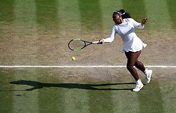 Serena Williams in action on day twelve of the Wimbledon Championships at the All England Lawn Tennis and Croquet Club, Wimbledon. PRESS ASSOCIATION Photo. Picture date: Saturday July 14, 2018. See PA story TENNIS Wimbledon. Photo credit should read: John Walton/PA Wire. RESTRICTIONS: Editorial use only. No commercial use without prior written consent of the AELTC. Still image use only - no moving images to emulate broadcast. No superimposing or removal of sponsor/ad logos. Call +44 (0)1158 447447 for further information.