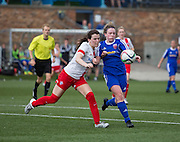 Forfar Farmington's Beth Shillitto battles for the ball with Spartans' Simone McMahon - Forfar Farmington v Spartans in the Scottish Womens Premier League at Station Park, Forfar. Photo: David Young<br /> <br />  - &copy; David Young - www.davidyoungphoto.co.uk - email: davidyoungphoto@gmail.com
