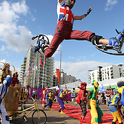 The National Youth Theatre perform a spectacular immersive performance at the welcoming ceremony at the Athletes village for the New Zealand team at Olympic Park, Stratford during the London 2012 Olympic games. London, UK. 19th July 2012. Photo Tim Clayton