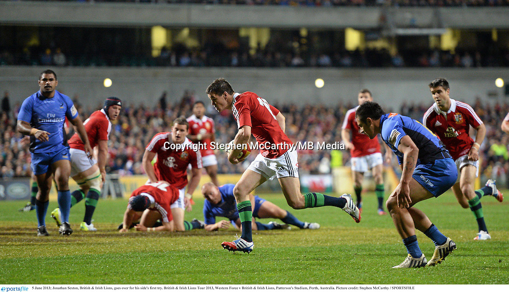 5 June 2013; Jonathan Sexton, British & Irish Lions, goes over for his side's first try. British & Irish Lions Tour 2013, Western Force v British & Irish Lions, Patterson's Stadium, Perth, Australia. Picture credit: Stephen McCarthy / SPORTSFILE