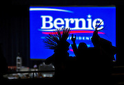 Supporters wearing mohawks are on hand to welcome Democratic presidential candidate Bernie Sanders speaking at a campaign rally at the Henderson Pavilion, Friday, Feb. 19, 2016.