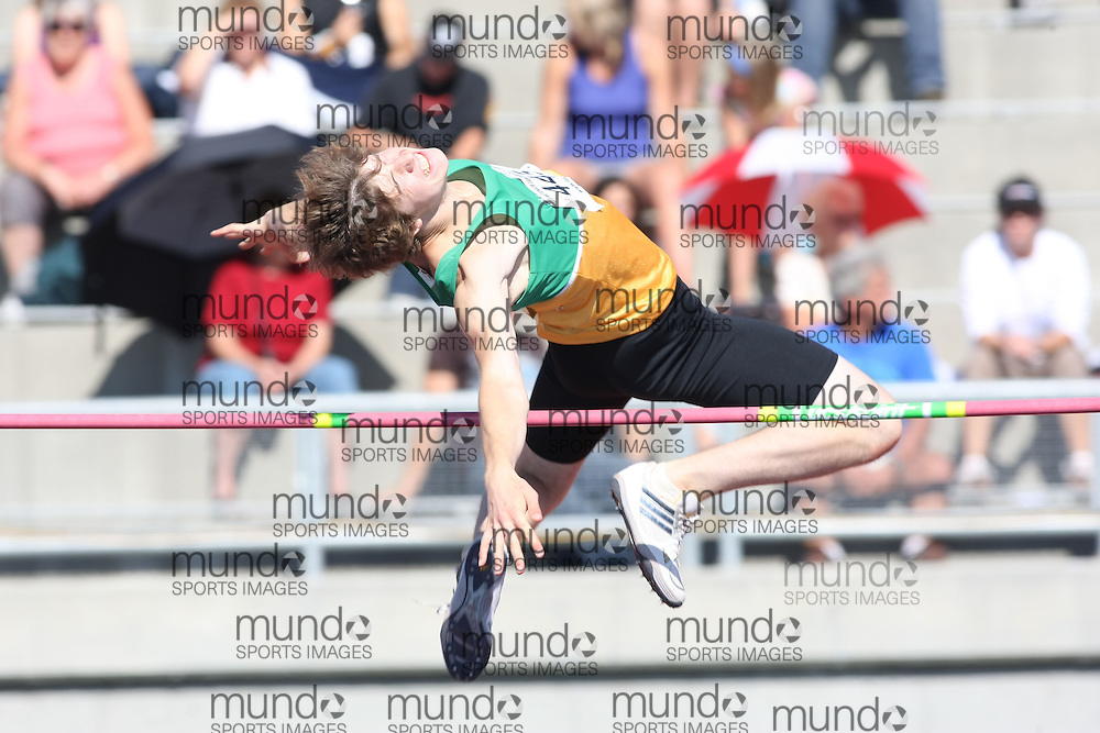 (Sherbrooke, Quebec---10 August 2008) Lane Britnell competing in the youth boys high jump at the 2008 Canadian National Youth and Royal Canadian Legion Track and Field Championships in Sherbrooke, Quebec. The photograph is copyright Sean Burges/Mundo Sport Images, 2008. More information can be found at www.msievents.com.