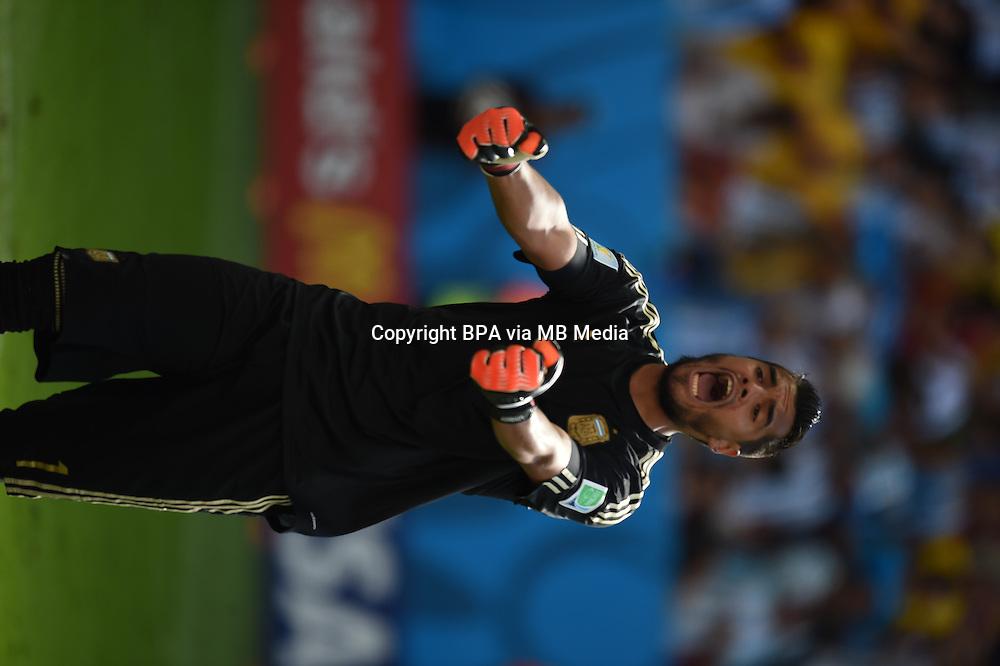 Sergio Romero. Argentina v Belgium, quarter-final. FIFA World Cup 2014 Brazil. National stadium, Brasilia. 05 July 2014