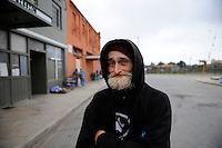 David Howard, 59, across from the Victory Mission on Soledad Street in Chinatown. Formerly a member of Tents by the Gardens, a well-organized homeless group that was camped out just down the street, Howard was displaced by the sweep of January 31st. He is waiting for official word as to where the group can reestablish their community.