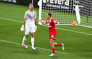 Adelaide United's Stefan Mauk celebrates his goal while Phoenix' Glen Moss watches on during the Round 22 A-League football match - Wellington Phoenix V Adelaide United at Westpac Stadium, Wellington. Saturday 5th March 2016. Copyright Photo.: Grant Down / www.photosport.nz