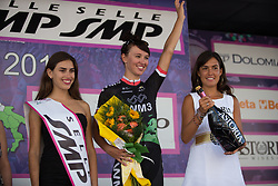 Kasia Niewiadoma celebrates finishing in third place on Stage 10 of the Giro Rosa - a 124 km road race, starting and finishing in Torre Del Greco on July 9, 2017, in Naples, Italy. (Photo by Balint Hamvas/Velofocus.com)