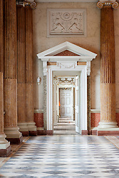 Wentworth Woodhouse - Marble Hall looking through the Van Dyke Room and Whistlejacket Room<br />