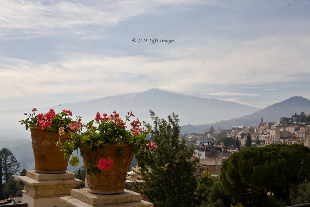Taormina : Mount Etna from the Grand Hotel Timeo terrace