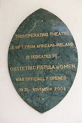 A plaque on the wall of Kitovu Hospital in Uganda, showing it was opened on 22 November 2008.