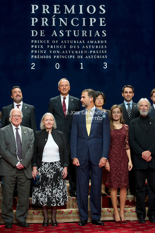 Prince Felipe of Spain and Princess Letizia of Spain attend the 2012 Prince of Asturias Award laureates at the Reconquista Hotel on October 25, 2013 in Oviedo, Spain