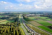 Nederland, Flevoland, Lelystad, 10-10-2014; spoorwegemplacement van de Hanzelijn.<br /> Railwayyard.<br /> luchtfoto (toeslag op standard tarieven);<br /> aerial photo (additional fee required);<br /> copyright foto/photo Siebe Swart