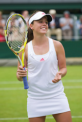 LONDON, ENGLAND - Monday, June 22, 2009: Michelle Larcher De Brito (POR) celebrates her Ladies' Singles 1st Round victory during day one of the Wimbledon Lawn Tennis Championships at the All England Lawn Tennis and Croquet Club. (Pic by David Rawcliffe/Propaganda)