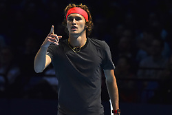 November 16, 2018 - London, United Kingdom - Alexander Zverev of Germany reacts during his round robin match against John Isner of the US during Day Six of the Nitto ATP Finals at The O2 Arena on November 16, 2018 in London, England. (Credit Image: © Alberto Pezzali/NurPhoto via ZUMA Press)
