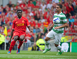 DUBLIN, REPUBLIC OF IRELAND - Saturday, August 10, 2013: Liverpool's Kolo Toure in action against Glasgow Celtic during a preseason friendly match at the Aviva Stadium. (Pic by David Rawcliffe/Propaganda)