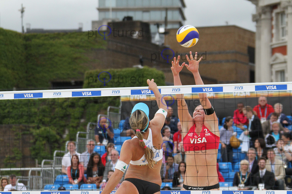 Liliane Maestrini; Angela Vieira (Brazil); Shauna Mullin; Zara Dampney (Great Britain) Visa FIVB Beach Volleyball International - London 2012 test event - Horse Guards Parade, London, UK, 13 August 2011:  Contact: Rich@Piqtured.com +44(0)7941 079620 (Picture by Richard Goldschmidt)