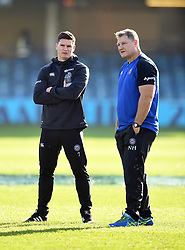 Freddie Burns and Neal Hatley of Bath Rugby look on during the pre-match warm-up - Mandatory byline: Patrick Khachfe/JMP - 07966 386802 - 16/11/2019 - RUGBY UNION - The Recreation Ground - Bath, England - Bath Rugby v Ulster Rugby - Heineken Champions Cup