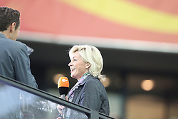 13.07.2011, Commerzbank Arena, Frankfurt, GER, FIFA Women Worldcup 2011, Halbfinale,  Japan (JPN) vs. Schweden (SWE), im Bild.Bundestrainerin Silvia Neid (R) beim ZDF lacht.. // during the FIFA Women´s Worldcup 2011, Semifinal, Japan vs Sweden on 2011/07/13, Commerzbank Arena, Frankfurt, Germany.   EXPA Pictures © 2011, PhotoCredit: EXPA/ nph/  Mueller       ****** out of GER / CRO  / BEL ******