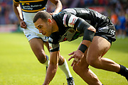 Hull FC centre Carlos Tuimavave (3) scores a try during the Challenge Cup 2017 semi final match between Hull RFC and Leeds Rhinos at the Keepmoat Stadium, Doncaster, England on 29 July 2017. Photo by Simon Davies.