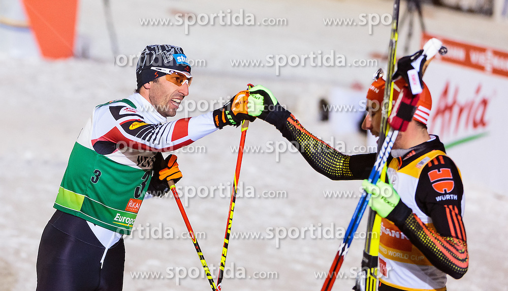 27.11.2016, Nordic Arena, Ruka, FIN, FIS Weltcup Nordische Kombination, Nordic Opening, Kuusamo, Langlauf, im Bild Wilhelm Denifl (AUT, 2. Platz), Sieger Johannes Rydzek (GER) // 2nd placed Wilhelm Denifl of Austria, Winner Johannes Rydzek of Germany during Cross Country of the FIS Nordic Combined World Cup of the Nordic Opening at the Nordic Arena in Ruka, Finland on 2016/11/27. EXPA Pictures © 2016, PhotoCredit: EXPA/ JFK
