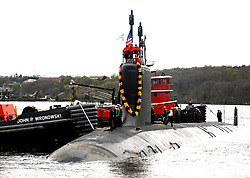 GROTON, Conn. (April 13, 2010) The Virginia-class attack submarine USS Virginia (SSN 774) returns to Naval Submarine Base New London after her maiden six-month deployment. Virginia visited Rota, Spain; Souda Bay, Greece; Fujahra, United Arab Emirates; and Aksaz, Turkey, traveling more than 37,000 miles. (U.S. Navy photo by Mass Communication Specialist 1st Class Steven Myers/Released) 100413-N-3090M-187