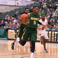 5th year guard Brandon Tull (5) of the Regina Cougars during the Men's Basketball home game on January 27 at Centre for Kinesiology, Health and Sport. Credit: Arthur Ward/Arthur Images