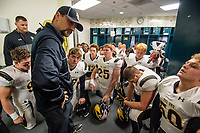 Del Oro Golden Eagle's head coach Jeff Walters, talks to his team inside the locker room before the game as the Granite Bay Grizzlies host the the Del Oro Golden Eagles in the Sac-Joaquin Section Division II championship game at Hornet Stadium at Sacramento State, Saturday Dec 2, 2017. <br /> photo by Brian Baer