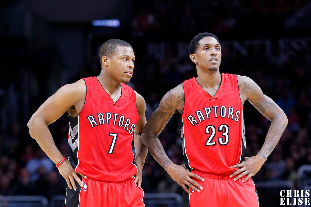 27 December 2014: Toronto Raptors guard Kyle Lowry (7) is seen next to Toronto Raptors guard Louis Williams (23) during the Toronto Raptors 110-98 victory over the Los Angeles Clippers, at the Staples Center, Los Angeles, California, USA.