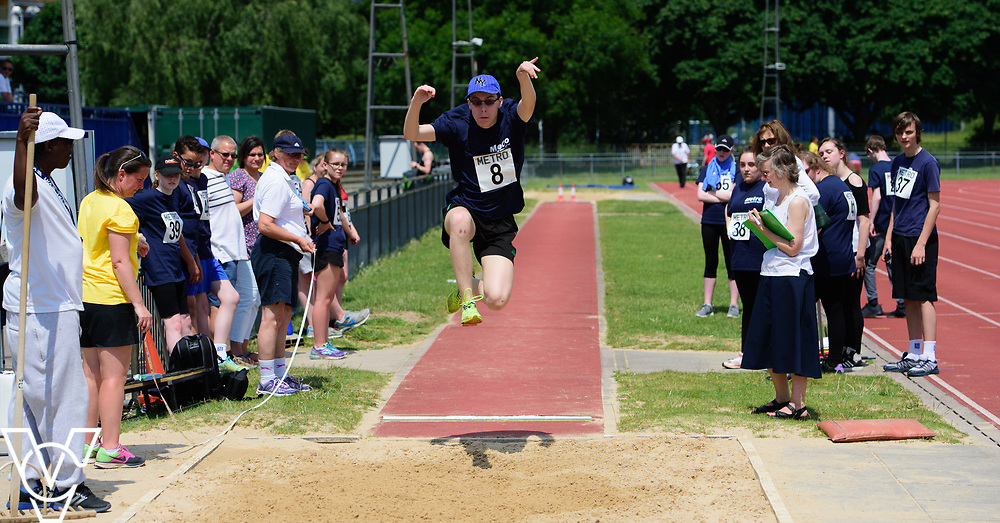 Metro Blind Sport's 2017 Athletics Open held at Mile End Stadium.  Long jump.  Luke Boulding<br /> <br /> Picture: Chris Vaughan Photography for Metro Blind Sport<br /> Date: June 17, 2017