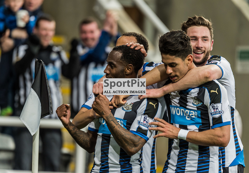Newcastle United midfielder Vurnon Anita (8) celebrates scoring in the Premier League match between Newcastle United and Manchester City <br /> <br /> (c) John Baguley | SportPix.org.uk