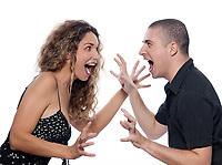 caucasian couple portrait quarrel isolated studio on white background dispute screaming