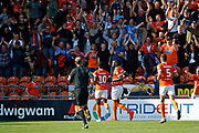 Goal celebration  by Armand Gnanduillet of Blackpool during the EFL Sky Bet League 1 match between Blackpool and Portsmouth at Bloomfield Road, Blackpool, England on 31 August 2019.