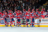 KELOWNA, CANADA -JANUARY 29: The Spokane Chiefs celebrate the game tying goal late in the third period against the Kelowna Rockets on January 29, 2014 at Prospera Place in Kelowna, British Columbia, Canada.   (Photo by Marissa Baecker/Getty Images)  *** Local Caption ***