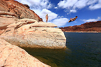 """Paul Raymore throws the """"Flying Squirrel"""" at Powell."""