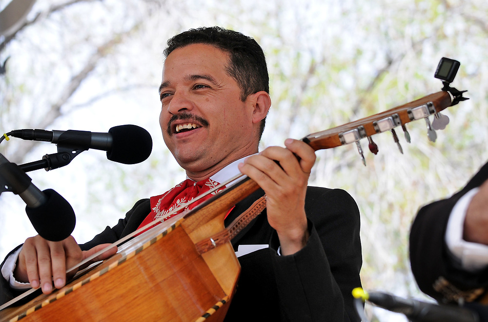 jt040817d/a sec/jim thompson/ José Carrillo with Mariachi Traditionál  sings under the gazebo on the Plaza in Old Town during the Fiesta de Albuquerque. Saturday April 08, 2017. (Jim Thompson/Albuquerque Journal)