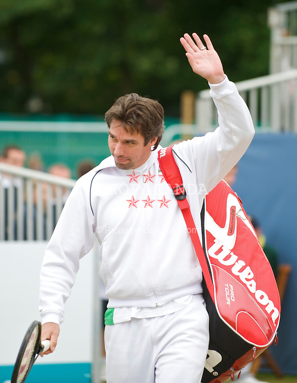 LIVERPOOL, ENGLAND - Sunday, June 21, 2009: Michael Stich (GER) walks onto court during Day Five of the Tradition ICAP Liverpool International Tennis Tournament 2009 at Calderstones Park. (Pic by David Rawcliffe/Propaganda)