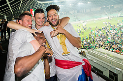 Leon Benko of NK Olimpija, Filip Uremovic of NK Olimpija, Dario Canadzija of NK Olimpija celebrate  after winning during football match between NK Aluminij and NK Olimpija Ljubljana in the Final of Slovenian Football Cup 2017/18, on May 30, 2018 in SRC Stozice, Ljubljana, Slovenia. Photo by Vid Ponikvar / Sportida