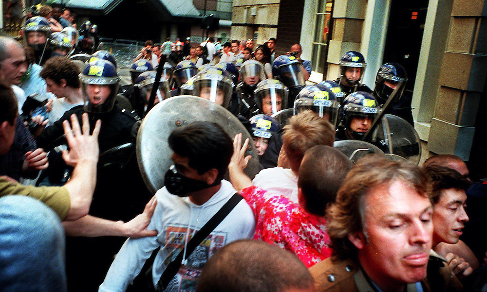 Protesters battle with riot police June 1999  .in the City of London