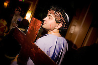 March 22nd 2008. Havana Central, New York, NY. Jewish Costume Purim Party at Havana Central at the West End, 2991 Broadway (113th street). Jacob, a young jeaish man, dressed as Jesus Christ. Party organized by twin brothers Seth and Isaac Galena, from bangitout.com, a jewish humour website.<br /> <br /> Reporter: Bleyer,Jennifer: 917-279-2078<br /> email: bleyer@nytimes.com<br /> ©2008 Gianni Cipriano<br /> cell. +1 646 465 2168 (USA)<br /> cell. +1 328 567 7923 (Italy)<br /> gianni@giannicipriano.com<br /> www.giannicipriano.com
