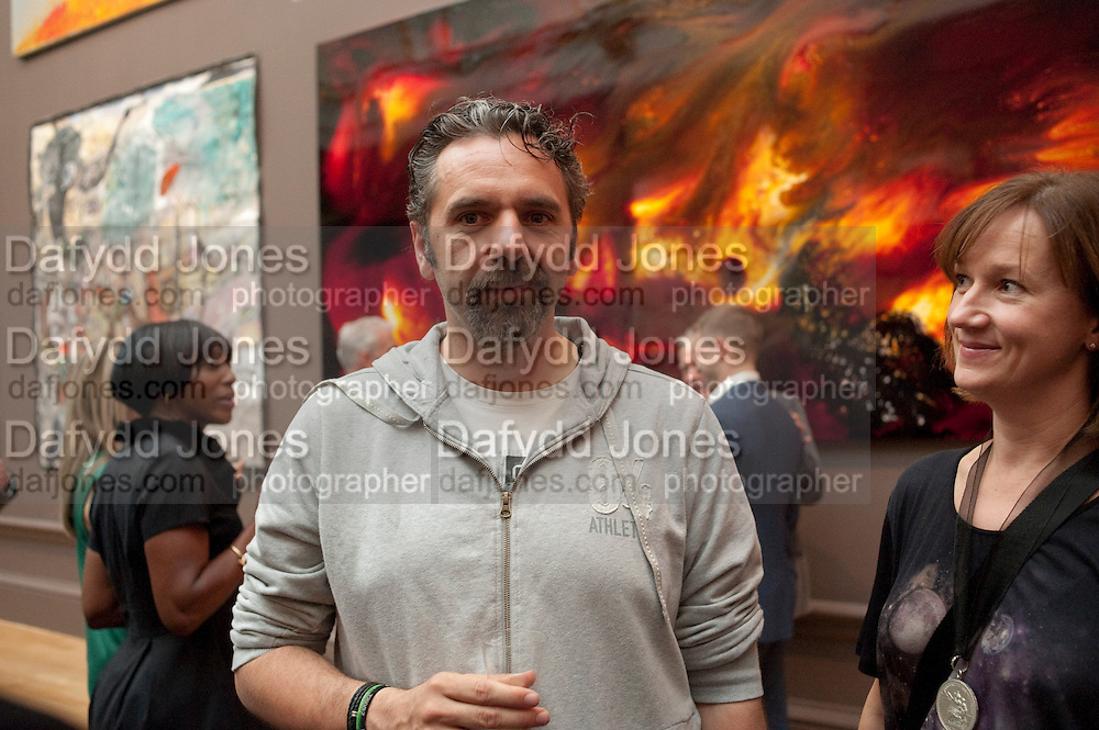 KEITH TYSON; FIONA RAE, Royal Academy of Arts Summer Exhibition Preview Party 2011. Royal Academy. Piccadilly. London. 2 June <br /> <br />  , -DO NOT ARCHIVE-&copy; Copyright Photograph by Dafydd Jones. 248 Clapham Rd. London SW9 0PZ. Tel 0207 820 0771. www.dafjones.com.