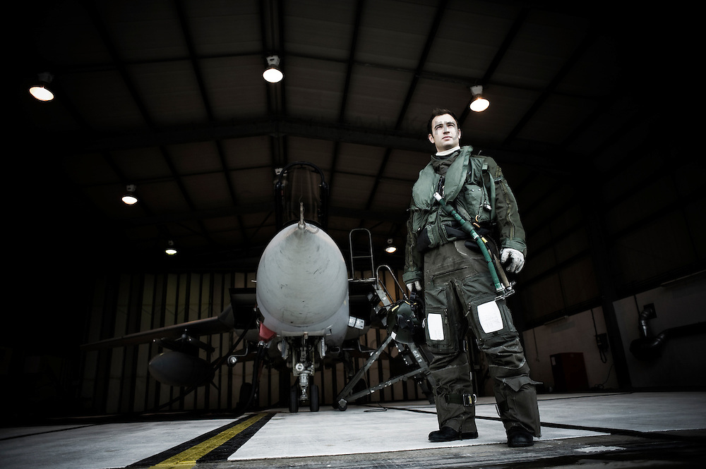 Flt Lt Gino Portaluri with his Tornado F3 in a QRA shed at RAF Mount Pleasant.  The Tornado F3 is being retired from service in the South Atlantic and replaced by the new single seat Typhoon fighter, 16th September 2009.
