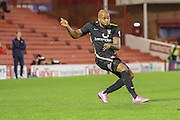 York City forward Emile Sinclair with a shot during the Johnstone's Paint Trophy match between Barnsley and York City at Oakwell, Barnsley, England on 10 November 2015. Photo by Simon Davies.