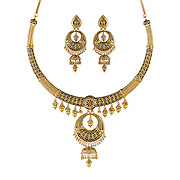 Gold necklace with black enamel & matching earrings.
