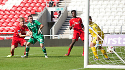 LIVERPOOL, ENGLAND - Tuesday, September 16, 2014: Liverpool's Daniel Cleary scores the second goal against PFC Ludogorets Razgrad during the UEFA Youth League Group B match at Langtree Park. (Pic by David Rawcliffe/Propaganda)