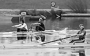 Staines, GREAT BRITAIN,   <br /> Women's Pair GBR W2- left Stroke Kim THOMAS and Alison BONNER,  Sue SMITH<br /> British Rowing Women's Heavy Weight Assessment. Thorpe Park. Sunday 21.02.1988,<br /> <br /> [Mandatory Credit, Peter Spurrier / Intersport-images] 19880221 GBR Women's H/Weight Assesment Thorpe Park, Surrey.UK