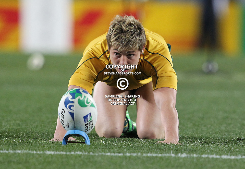 AUCKLAND, NEW ZEALAND - OCTOBER 21, James O'Connor during the 2011 IRB Rugby World Cup 3rd &amp; 4th playoff match between Australia and Wales at Eden Park on October 21, 2011 in Auckland, New Zealand<br /> Photo by Steve Haag / Gallo Images