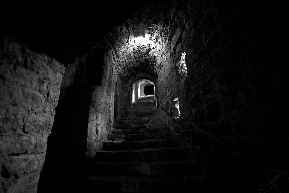 Modern light aside, navigating internal castle corridors would be tough in the best of conditions when the castle was new - circa 1214. (B&W version)