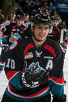 KELOWNA, CANADA - OCTOBER 21: Nick Merkley #10 of the Kelowna Rockets celebrates a goal against the Tri-City Americans on October 21, 2016 at Prospera Place in Kelowna, British Columbia, Canada.  (Photo by Marissa Baecker/Shoot the Breeze)  *** Local Caption *** Nick Merkley;