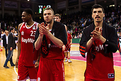 28.03.2016, Telekom Dome, Bonn, GER, Beko Basketball BL, Telekom Baskets Bonn vs FC Bayern Muenchen, 23. Runde, im Bild Dusko Savanovic (FC Bayern Muenchen #20) und Nihad Djedovic (FC Bayern Muenchen #14) // during the Beko Basketball Bundes league 23th round match between Telekom Baskets Bonn and FC Bayern Munich at the Telekom Dome in Bonn, Germany on 2016/03/28. EXPA Pictures © 2016, PhotoCredit: EXPA/ Eibner-Pressefoto/ Schüler<br /> <br /> *****ATTENTION - OUT of GER*****