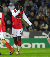 Photo: Leigh Quinnell/Sportsbeat Images.<br /> Reading v Arsenal. The FA Barclays Premiership. 12/11/2007. Arsenals Emmanuel Adebayor celebrates his goal.
