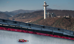 Germany's Tobias Wendl and Tobias Arlt during the Men's Double Luge practice during day three of the PyeongChang 2018 Winter Olympic Games in South Korea.